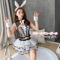 Cute Lace Rabbit Bunny Girl Erotic Uniforms Slim dress up SM outfit Sexy Cosplay Costumes Lingerie 5pcs Clubwear