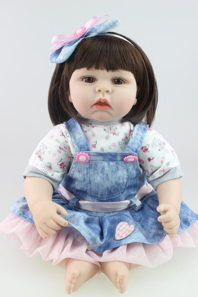 22 Inch/55cm Soft Silicone Princess Girl Reborn Babies Lifelike Handmade Newborn Baby Doll Toy Kids Birthday Xmas Gift handmade silicone reborn baby doll lifelike 20 inch newborn girl babies with lovely clothes kids birthday christmas gift