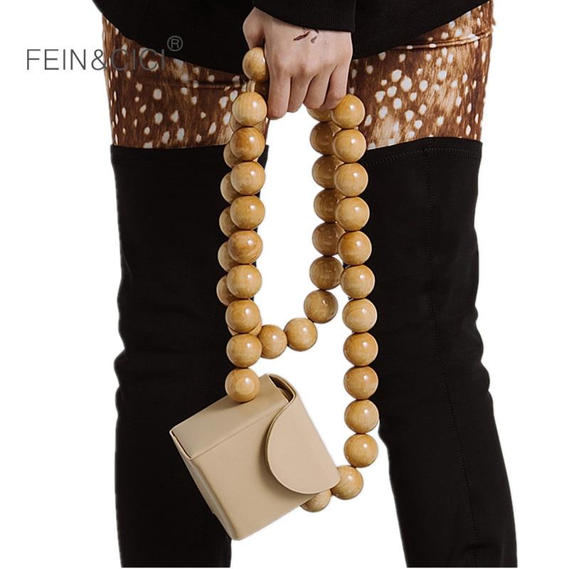 Beaded totes handbag women Bamboo wood pearls chains bag vintage stylish mini luxury brand shoulder bag