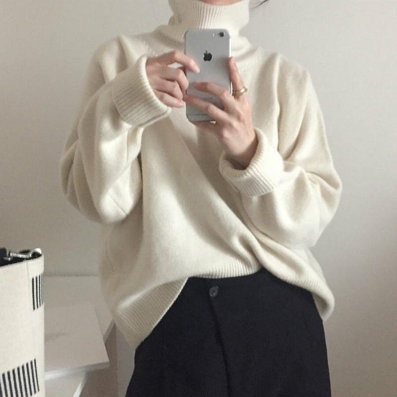 Women Autumn Winter Cashmere Turtleneck White Sweater Knitted Pullovers  Long Sleeve Elegant Jumper Plus Size