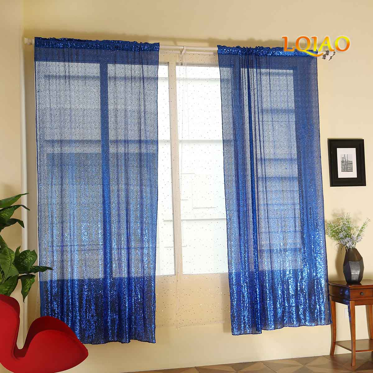 2019 Newest Sequin Curtain 2 Pack Shiny royal blue sequin backdrop Photo Curtains for party wedding