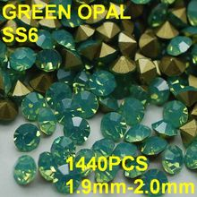 SS6 1440pcs lot 1.9mm-2.0mm Green Golden Point Back 3D Rhinestones in Nail  Decoration d628c4cd581d
