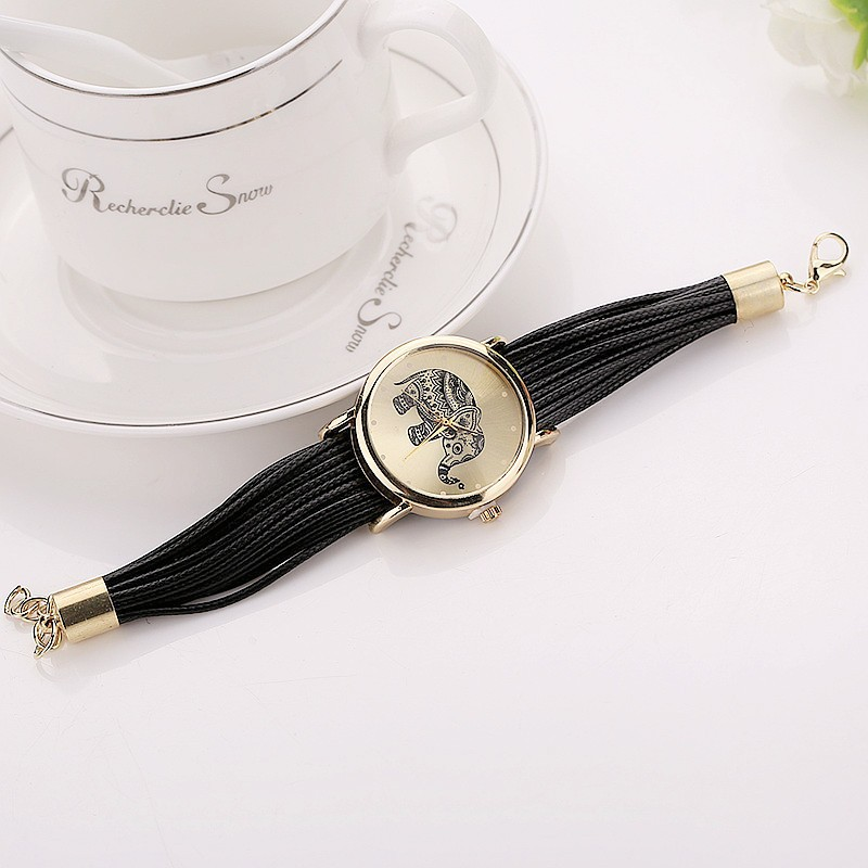 Leather Elephant Bracelet Watches