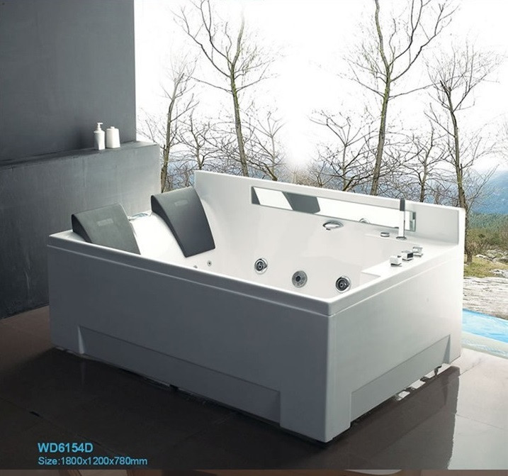 1800mm Double People Whirlpool Bathtub Right Apron Surf and Massage SPA Underwater LED Lamp Radio 6154D