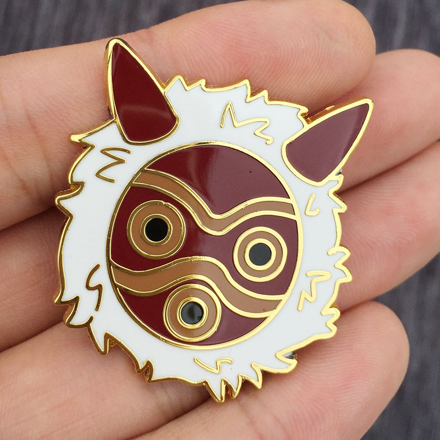 Princess Mononoke Pin San Metal Badge Brooch Chest Button Ornament