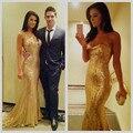 Por Encargo Brillantes Totalmente de Lentejuelas Cariño Blusa Corsé Vestidos Largos de La Sirena de Oro Vestidos de Baile 2016 Vestidos de Noche Formales