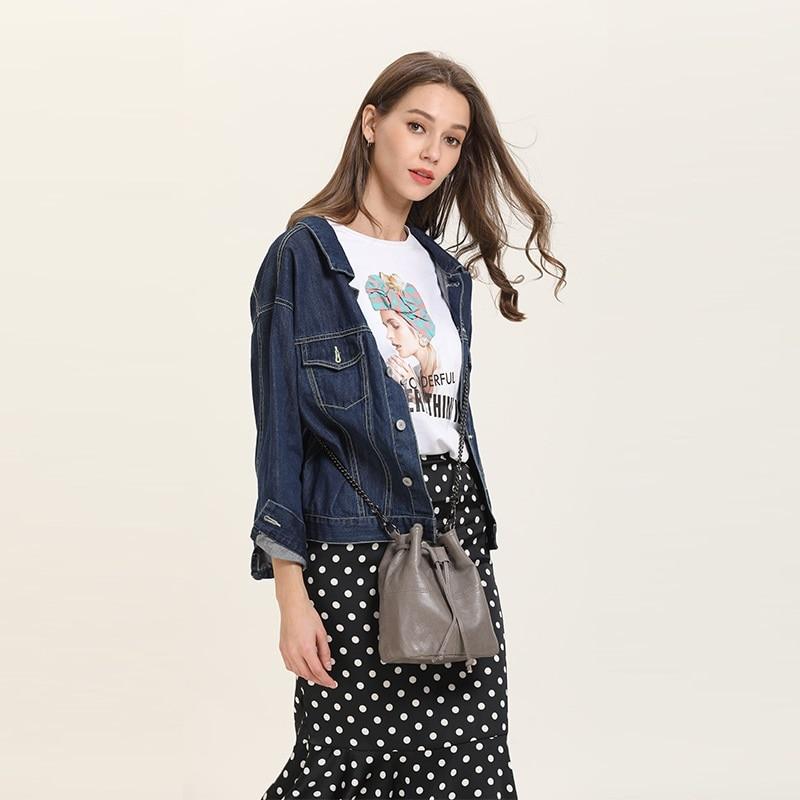 MJ Genuine Leather Women Bag Chain Crossbody Handbag Female Real Cow Leather Bucket Shoulder Bags Small Messenger Bag for Girls (35)
