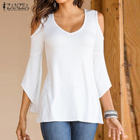 Autumn Shirts 2016 ZANZEA Women Blouses Sexy Off Shoulder V Neck Flare Long Sleeve Casual Solid