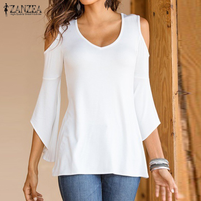 Bluza Vjeshte 2018 ZANZEA Bluza Gratë Sexy Off Shoulder V Qafa Flare - Veshje për femra