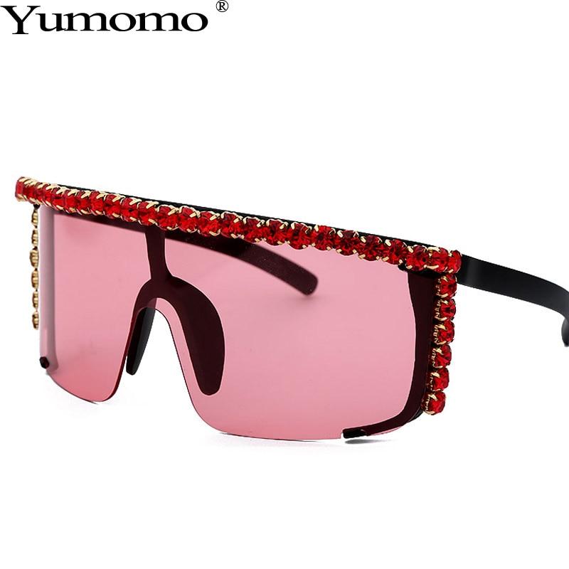 Trendy Oversized Diamond Sunglasses Women Personlity Fashion Colorful Gradient Pink Yellow Mirror UV400 Oculus Ladies Eyewear