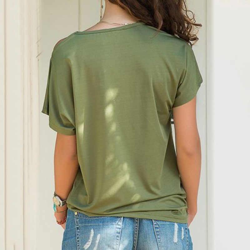 Wanita Skew Leher T-shirt Musim Panas Tidak Teratur Criss Cross Lengan Pendek Seksi Off Bahu Solid Tops Kemeja Putih) Femme Satu Bahu Kemeja