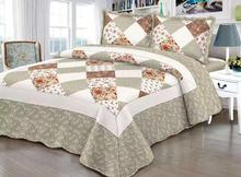 Comfortable high-grade cotton bedding quilted bed cover 220 * 240 double floral mosaic green bedspread