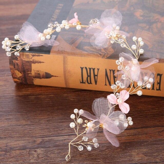 Pink Pearl Flower Headbands...