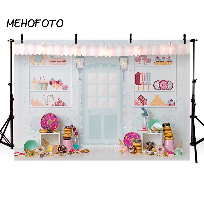 Candy Bar Ice Cream Parlor Celebration Background Baby 1st Birthday Donut Party Banner Photography Backdrop for Photo BoothBackground   -