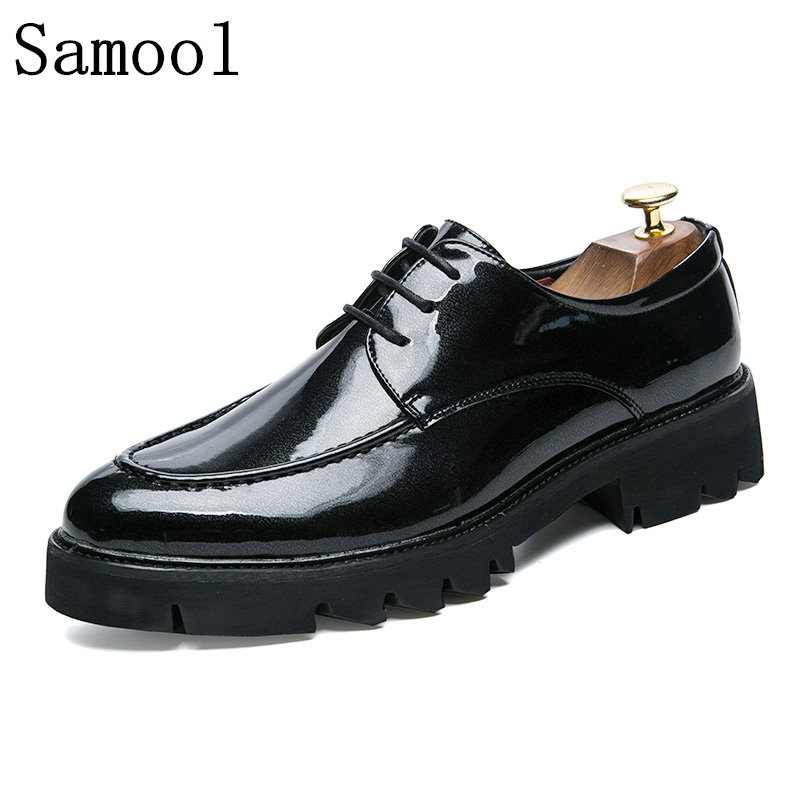 2017 Autumn Winter High Quality Men Dress Shoes Shadow Patent Leather Luxury Fashion New Style Wedding Shoes Men Oxford Shoes 2015 spring autumn fashion men shoes patent leather men dress shoes white black male soft leather wedding oxford shoes bj3073