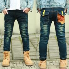 DIIMUU Kids Boys Jeans Casual Straight Elastic Waist Denim Pants Pocket Teenage Boy Long Trousers for 5-13 Years цена
