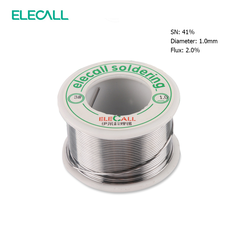 ELECALL New Arrival 41SN Pure Tin 1.0mm 75g Rosin Core Tin/Lead Rosin Roll Flux Reel Lead Melt Core Soldering Tin Solder Wire