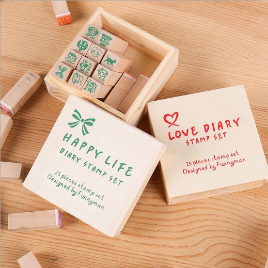 WSP721 Wooden Rubber Stamp Set - 25 Kinds Korea DIY Woodiness rubber stamp-diary stamp set----Love Dairy