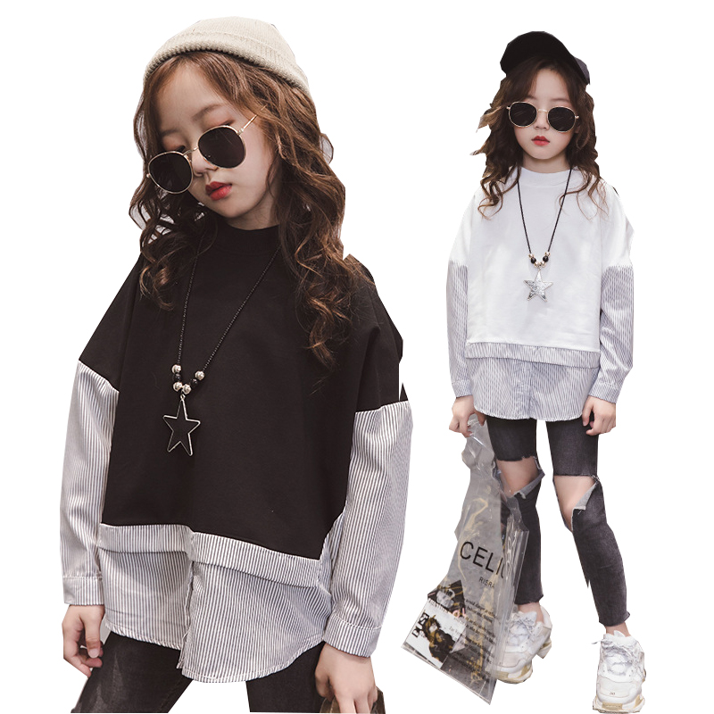 Girls T Shirt Autumn Long Sleeve Striped Sweatshirt for Teenage Girls Tops Patchwork Kids Outfits Children Clothes 8 10 12 Years