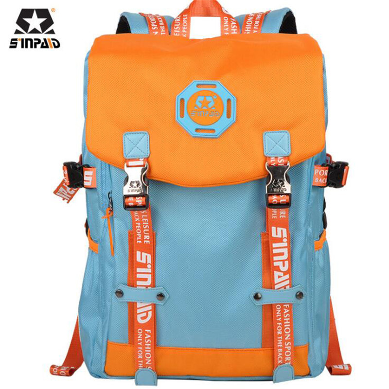 SINPAID Leisure Travel Bag Korean Schoolbag For Middle School Students High-capacity Backpack Fashion Computer Backpacks M660 new canvas backpack travel bag korean version school bag leisure backpacks for laptop 14 inch computer bags rucksack