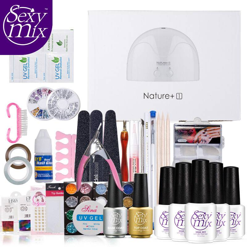 Sexy Mix 57pcs Nail Art Full Set 16w nature UV LED Lamp Nail Art Tool Base Top Coat Nail Gel Polish Kits Manicure Full Sets nature explorer box set