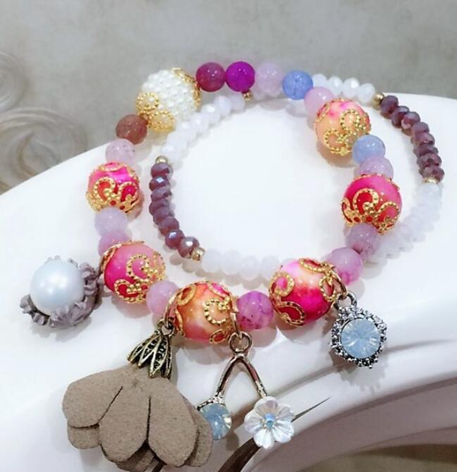 Fashion Crystal Beads Flower Charms Bracelets Bangles Bracelet for Women Summer Charm Bracelet Beads Jewelry in Charm Bracelets from Jewelry Accessories