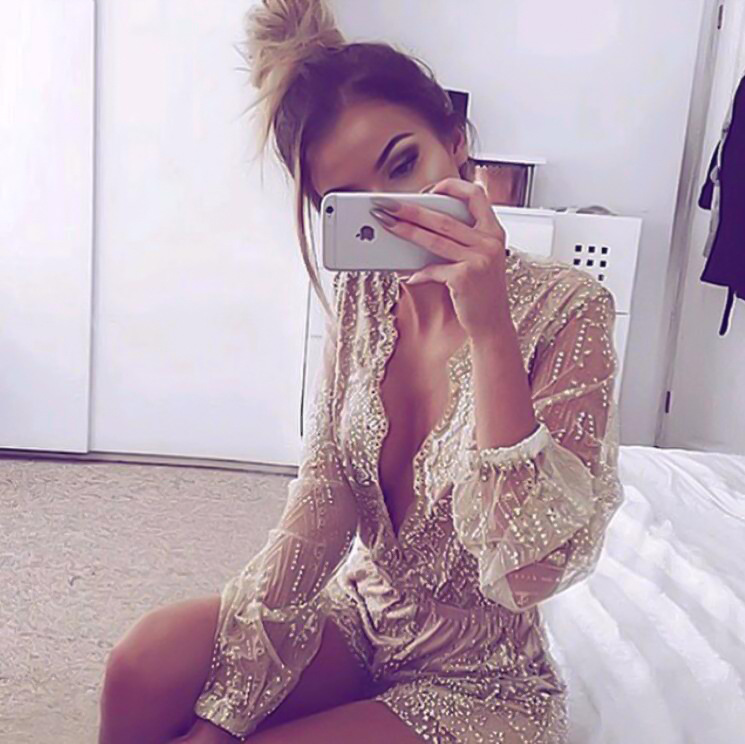 64bd39ee76 Reaqka Sexy Summer Gold Sequins Bodysuit 2018 New Womens Lace V Neck Mesh  Club