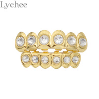 Hip Hop Gold Silver Plated Rhinestone Crystal Grillz Dental Grills Top Bottom Tooth Caps Body Jewelry