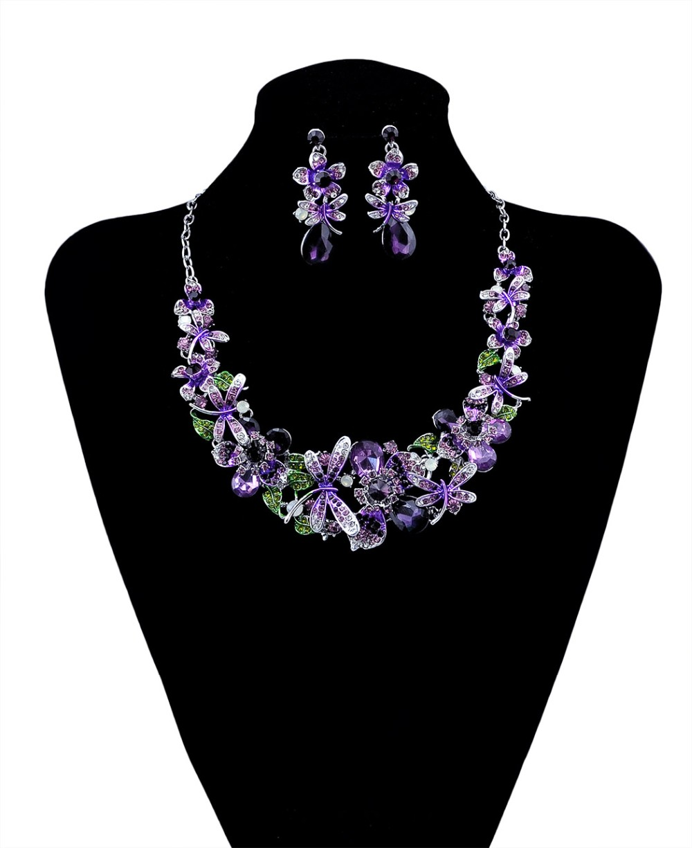 New Fashion Korean Style Silver Chain Colorful Charm Rhinestone Beautiful Flower Dragonfly Bib Statement Necklace And Earrings Set Women Jewelry, statement necklace - idealway_img1.cdn.tradevv.com_4