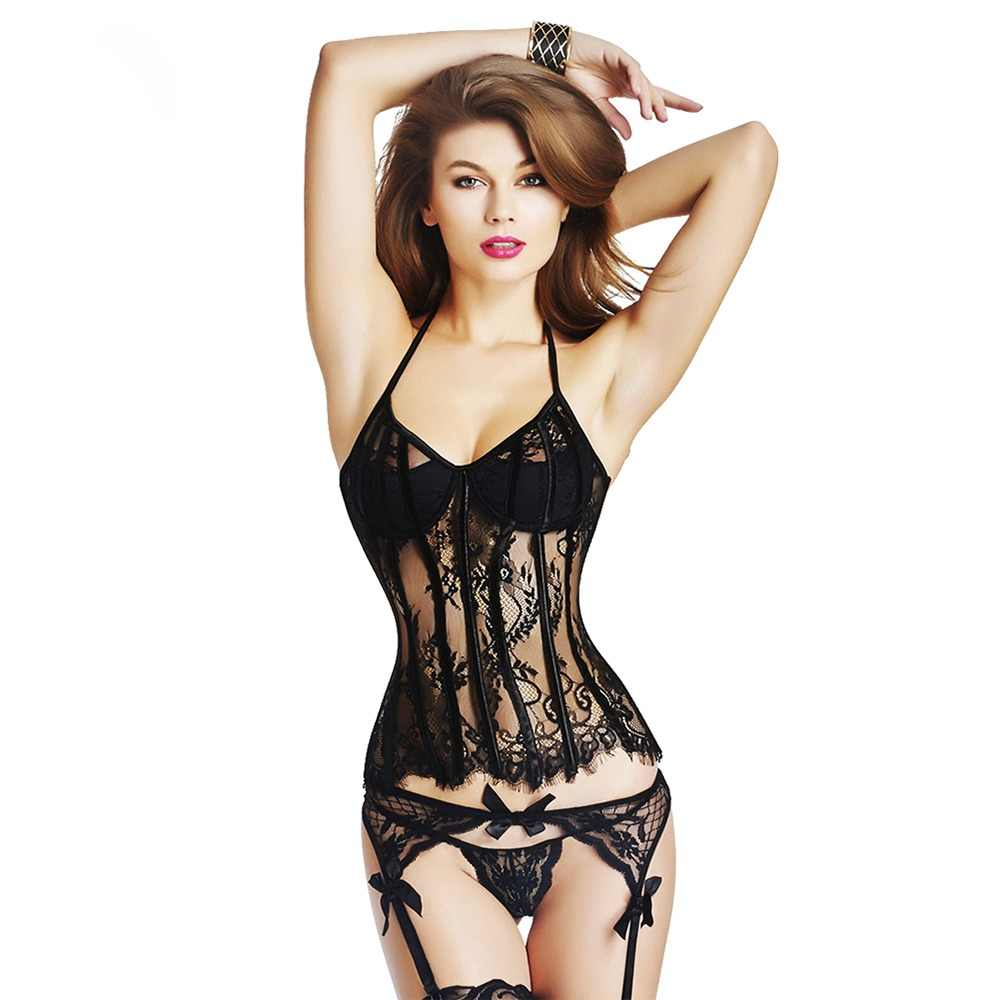 d2625c52a7 Corset Steampunk Sexy top Women Shaper Waist Slimming Gothic Bustiers  corselet Waist Trainer Lace Sexy Corset