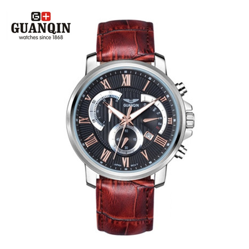 ФОТО Brand GUAQIN Men Watch Luminous Waterproof Quartz Watch Luxury Fashion Mens Leather Strap Analog Male Wristwatches Week Display