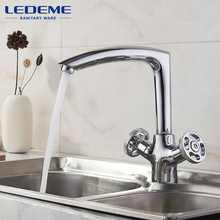 LEDEME Chrome plated Kitchen Faucet Seven Letter Design 360 Degree Rotation with Water Purification Features Double Handle L4089