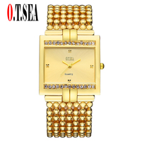 Luxury O T SEA Brand Fashion Gold Silver Bracelet Watch Women Men Crystal Dress Quartz Wrist