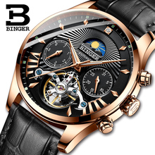 цена на Switzerland BINGER Men's Watch Automatic Watch Men Role Mens Watches Top Brand Luxury Mechanical skeleton relogio tourbillon