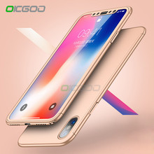 OICGOO Luxury 360 Degree Protection Back Case For iPhone X 10 Cases Hard PC Full Cover For iPhone X 10 Case With Tempered Glass(China)