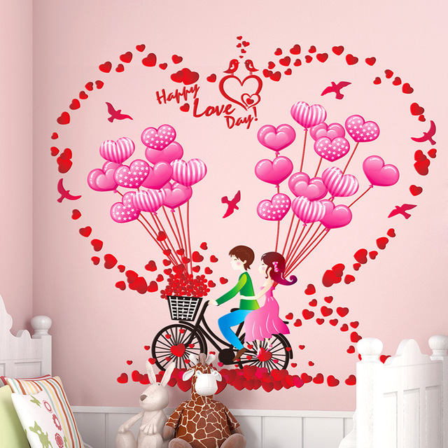 Romantic Happy Valentine Couple Lover Decorative Wall Stickers ...