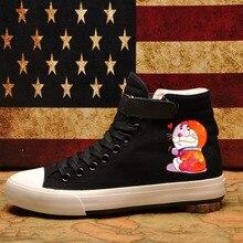 Funny Doraemon Cartoon pattern Jingle cat Canvas Shoes High-top Flat Casual Mens Fashion Students shoes