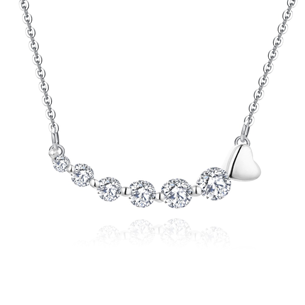 YL Solid 14K White Gold 0.86 Ct Round Cut Simulate Diamond Pendant Engagement Wedding Anniversary Pendant Necklace for Women