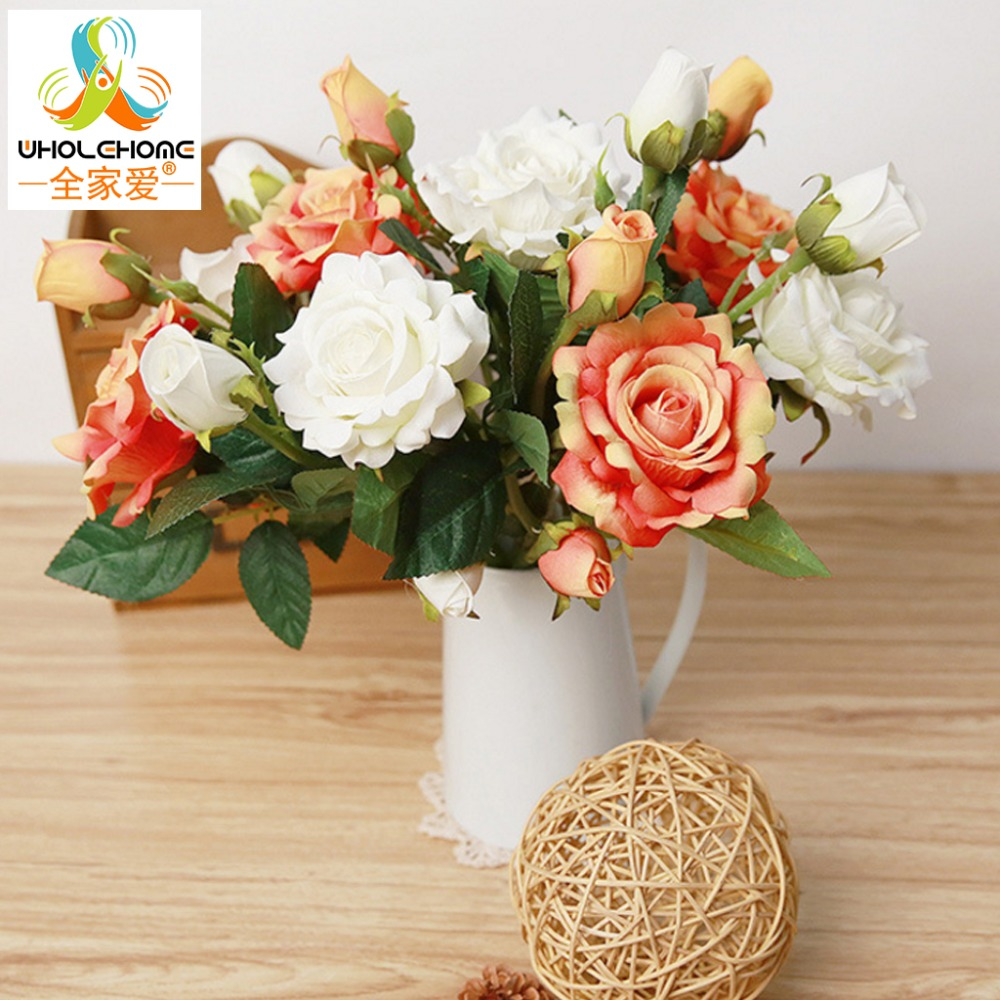 Artificial flowers for decoration mariage birthday party crafts artificial flowers for decoration mariage birthday party crafts bridal bouquet floral with buds wedding deco 1 pc only izmirmasajfo