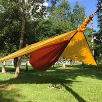 40D Nylon Hammock Tent Double With 20D Silicone Awning Outdoor Camping Travel Garden Survival Hamac Sleeping