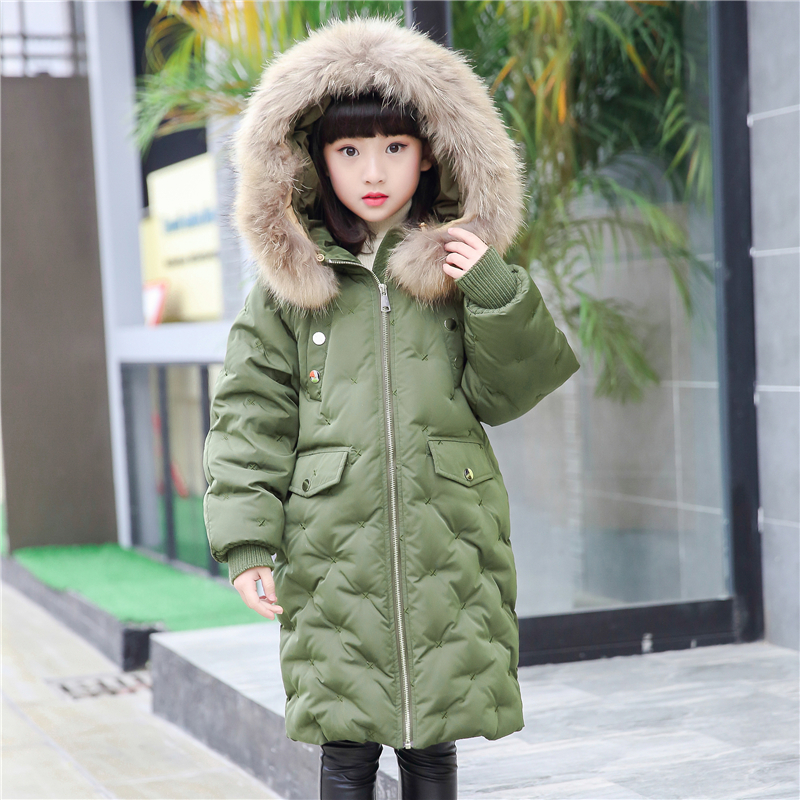 XYF M1637 Boys Girls Winter Down Jackets Kids Plaid Long Sleeve Winter Jacket Coat Warm Outerwear Long Coat 85% White Duck Down