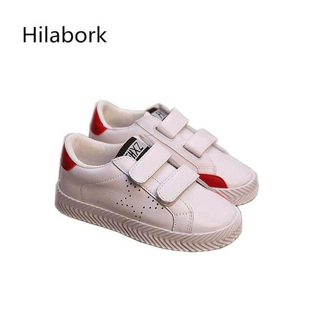 Leather shoes мальчиков и девочек 2017 весной новый детский shoes fashion сплошной цвет Крюк & ПЕТЛЯ мальчики и девочки случайные shoes A90833