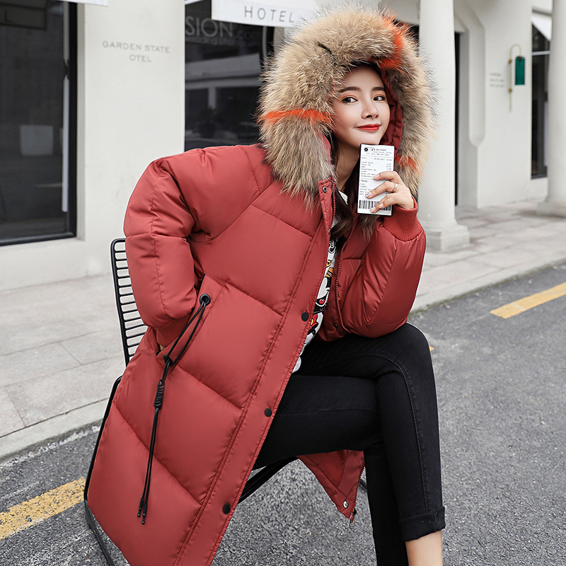 New Hooded Middle Length Cotton Dress Female Loose Large Size Wool Collar Fashion Jacket Thickening Warm Cotton Padded Clothes 2017 new fashion women long coat cotton padded clothes thicken winter female parkas lamb wool hooded drawstring jacket plus size page 1