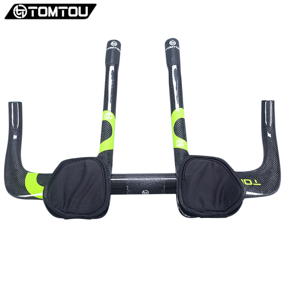 TOMTOU Carbon Rest TT Handle Bar Triathlon Bicycle Extender Road Bicycle Handlebar Aerobar Set 3K Finish Glossy Green - TC5T21 bike handlebar extender for bicycle light bell computer handle ba mount carbon fiber aluminium alloy bicycle handle bar extender