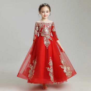 Good Quality Children Girls Embroidery Lace Shoulderless Collar Red Birthday Wedding Party Dress Baby Kids Noble Piano Dress