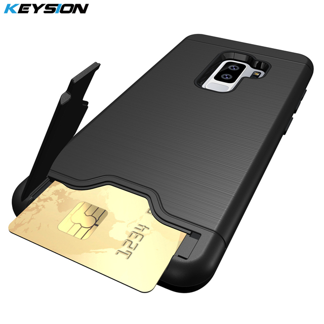 wholesale dealer 4ca76 10b3f US $4.24 15% OFF KEYSION Case For Samsung Galaxy S9 S9 Plus PC+TPU Anti  Shock Impact Brushed Texture Stand Card Slot Cover For Samsung S9 S9+ -in  ...