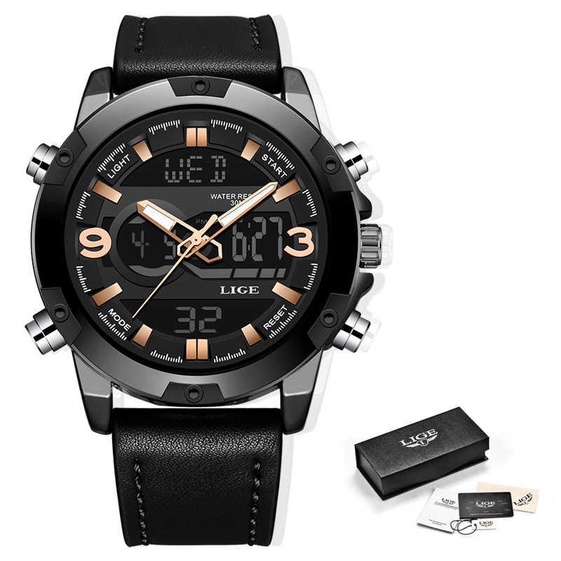 2019 LIGE nouvelle entreprise hommes montres haut de gamme marque sport hommes montre double affichage en cuir étanche montres Relogio Masculino