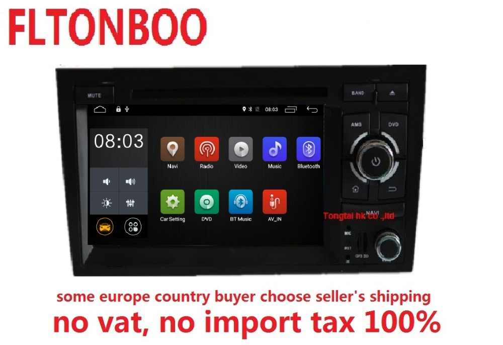 7 Android 7.1 for AUDI A4 2din car dvd,gps navigation,wifi,radio,bluetooth,Steering wheel Canbus,free 8g map mic,touch screen