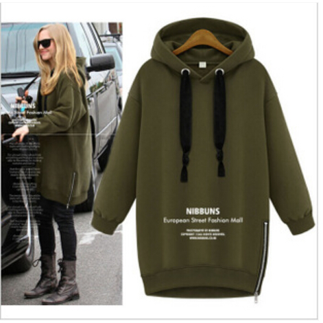 free shipping The new winter loose turtleneck hooded drawstring long paragraph hoodie size long fat MM