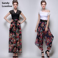 2016 NEW Women Summer Style Floral Pattern High Waist Wide Leg Pants Women Harem Pants Chiffon + FREE BELT Cheap Sale 003